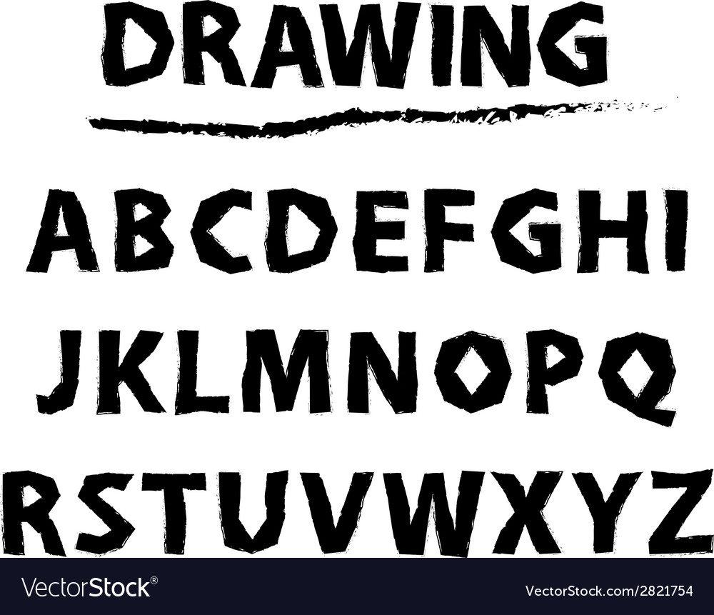 Drawing sketch alphabet handwritten font vector | Price: 1 Credit (USD $1)