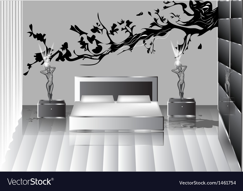 Grey bedroom vector | Price: 1 Credit (USD $1)