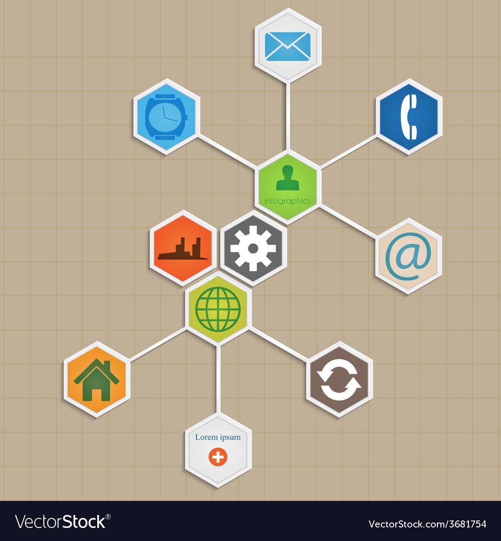 Infographic template design - hexagon background vector | Price: 1 Credit (USD $1)