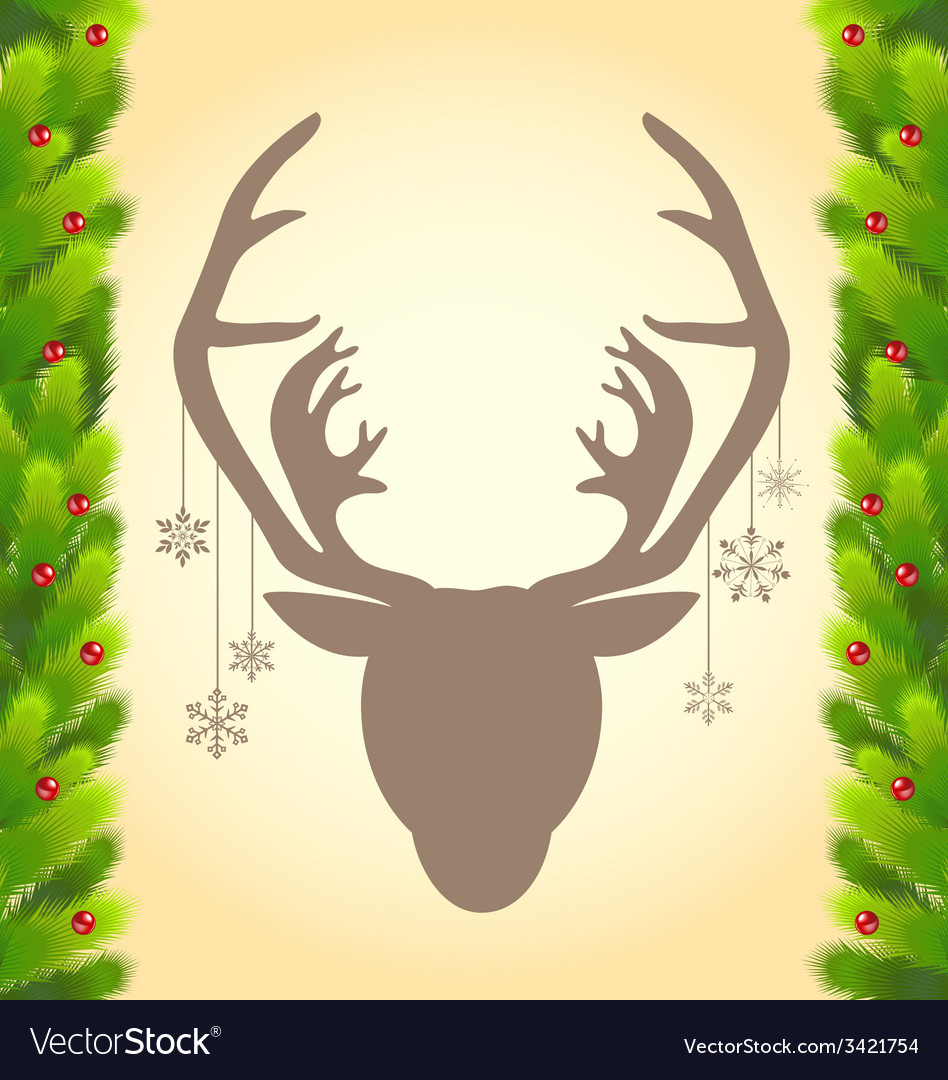 Reindeer and christmas tree abstract background vector | Price: 1 Credit (USD $1)