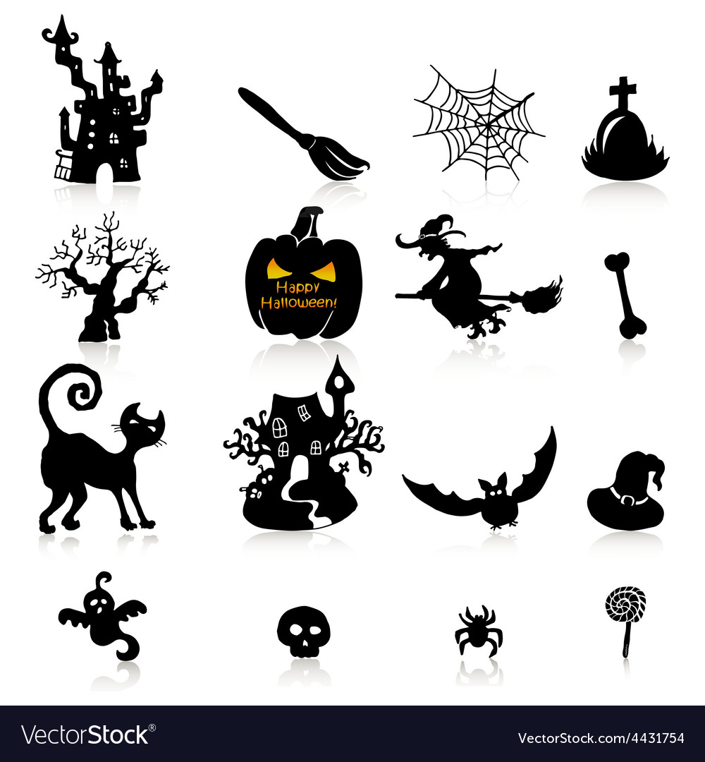 Set of 16 halloween icons with reflection on white vector | Price: 1 Credit (USD $1)