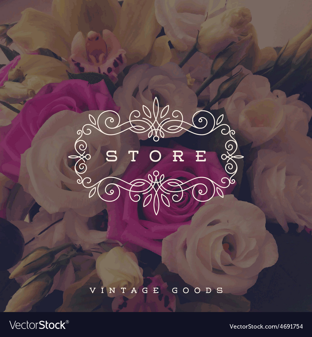 Store logo template with calligraphic frame vector | Price: 1 Credit (USD $1)