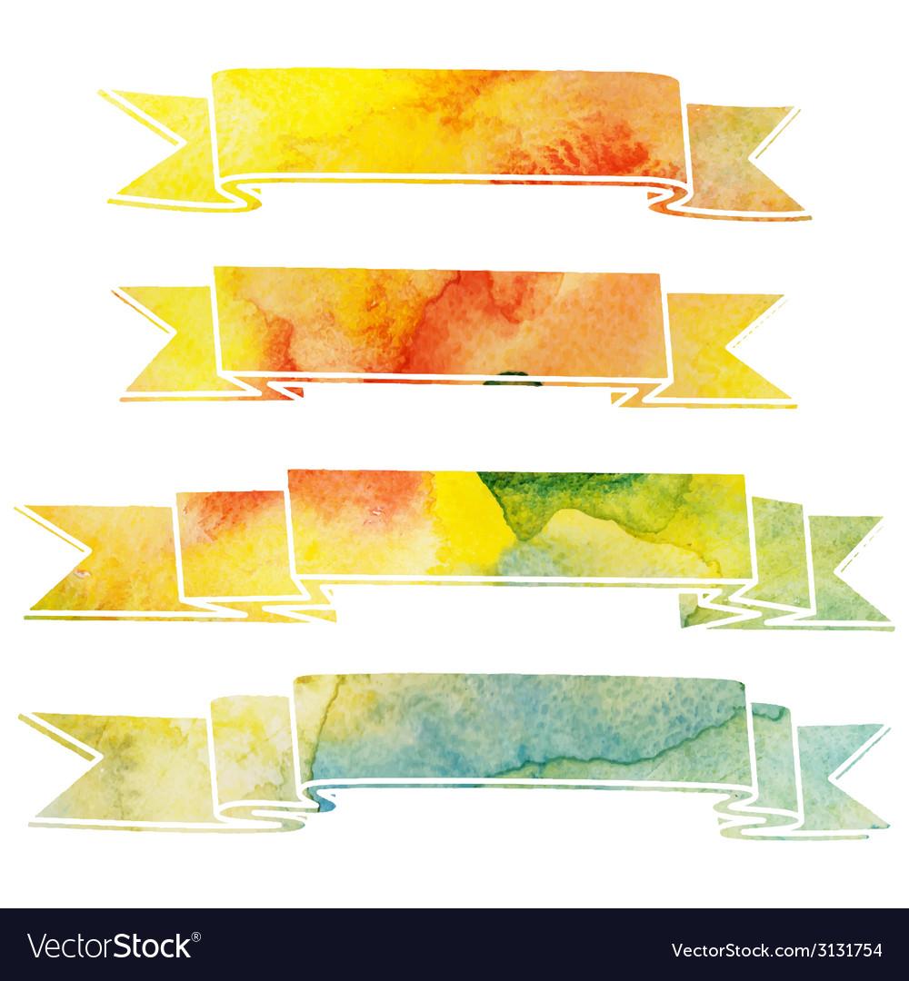 Watercolor ribbons vector