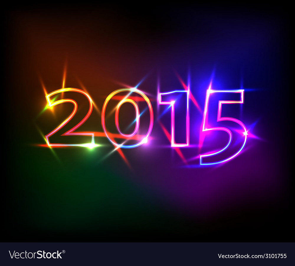 2015 year with colored neon lights effect vector | Price: 1 Credit (USD $1)