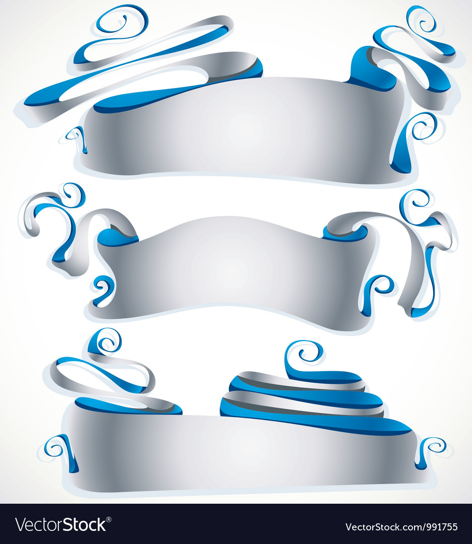 Abstract silver banners vector | Price: 1 Credit (USD $1)