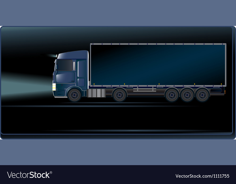Blue truck on the night road vector | Price: 1 Credit (USD $1)