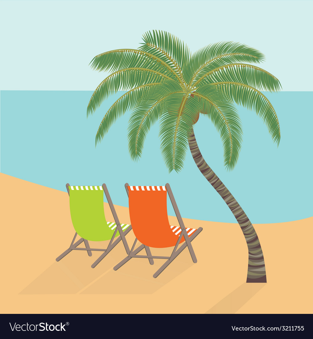 Chaise lounges under a palm tree on the sea coast vector | Price: 1 Credit (USD $1)