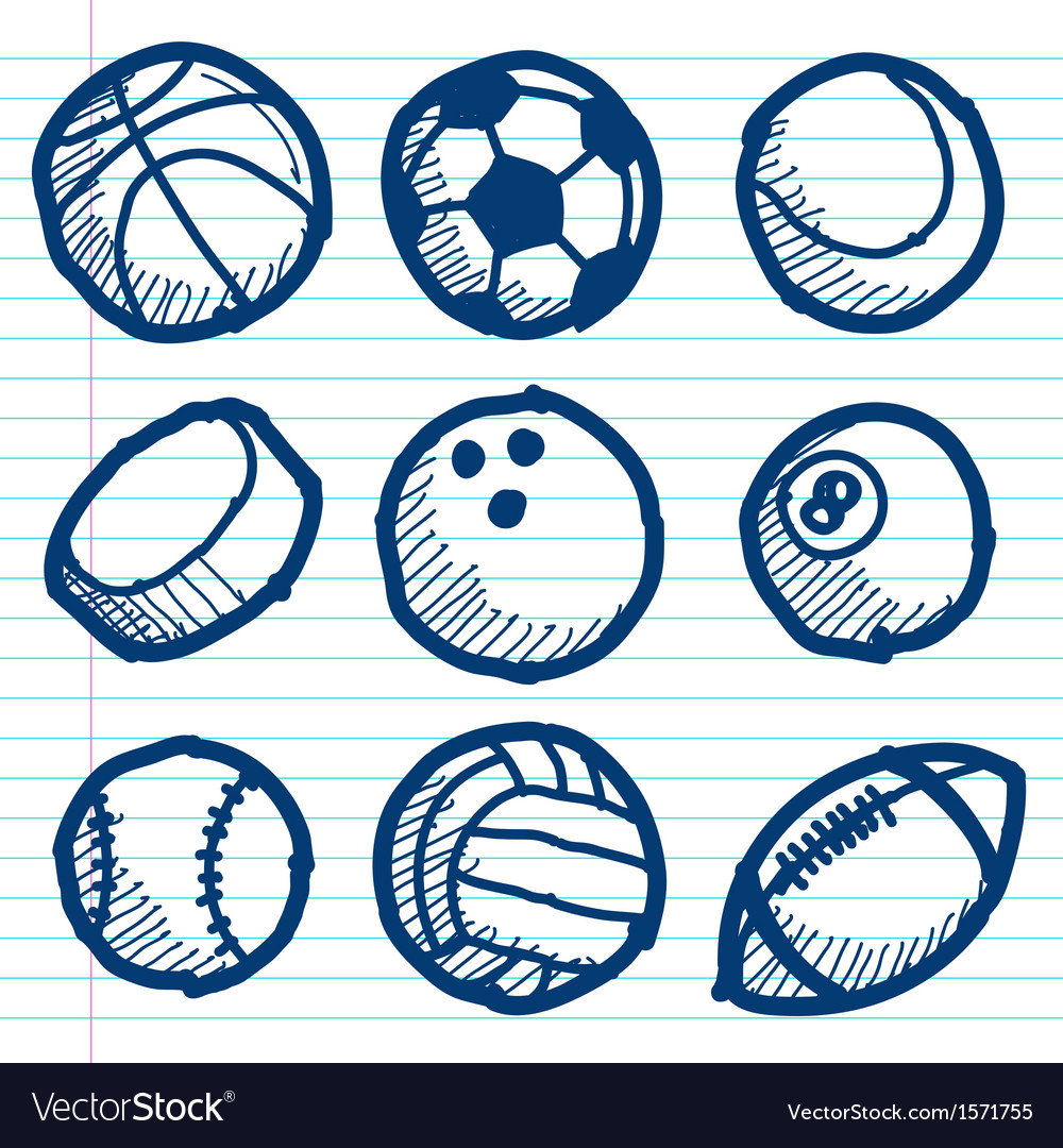 Doodle sport ball icons vector | Price: 1 Credit (USD $1)