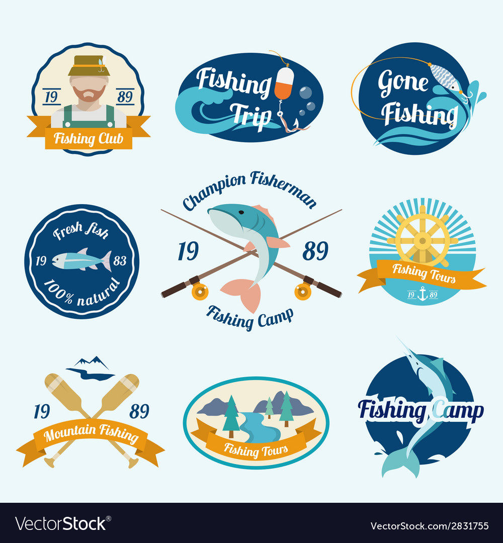 Fishing label set vector | Price: 1 Credit (USD $1)
