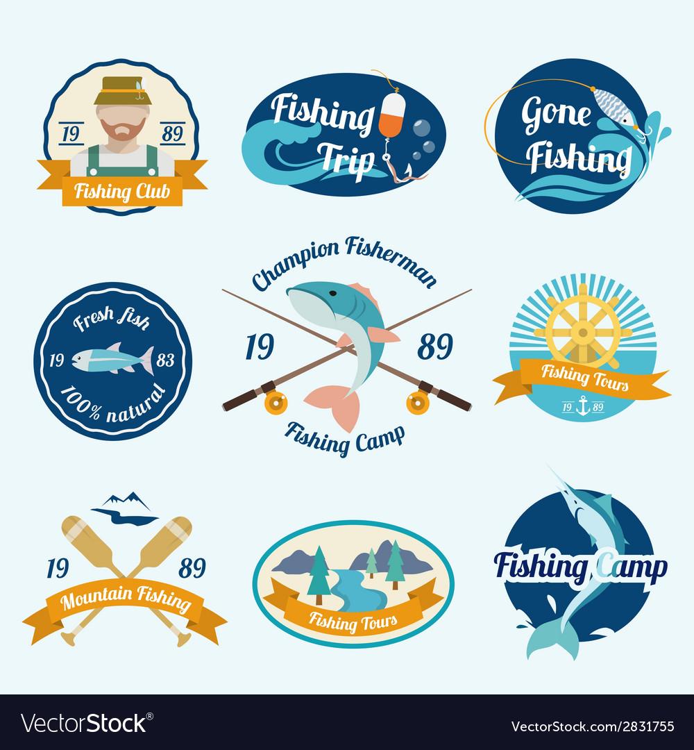Fishing label set vector | Price: 1 Credit (USD $1)