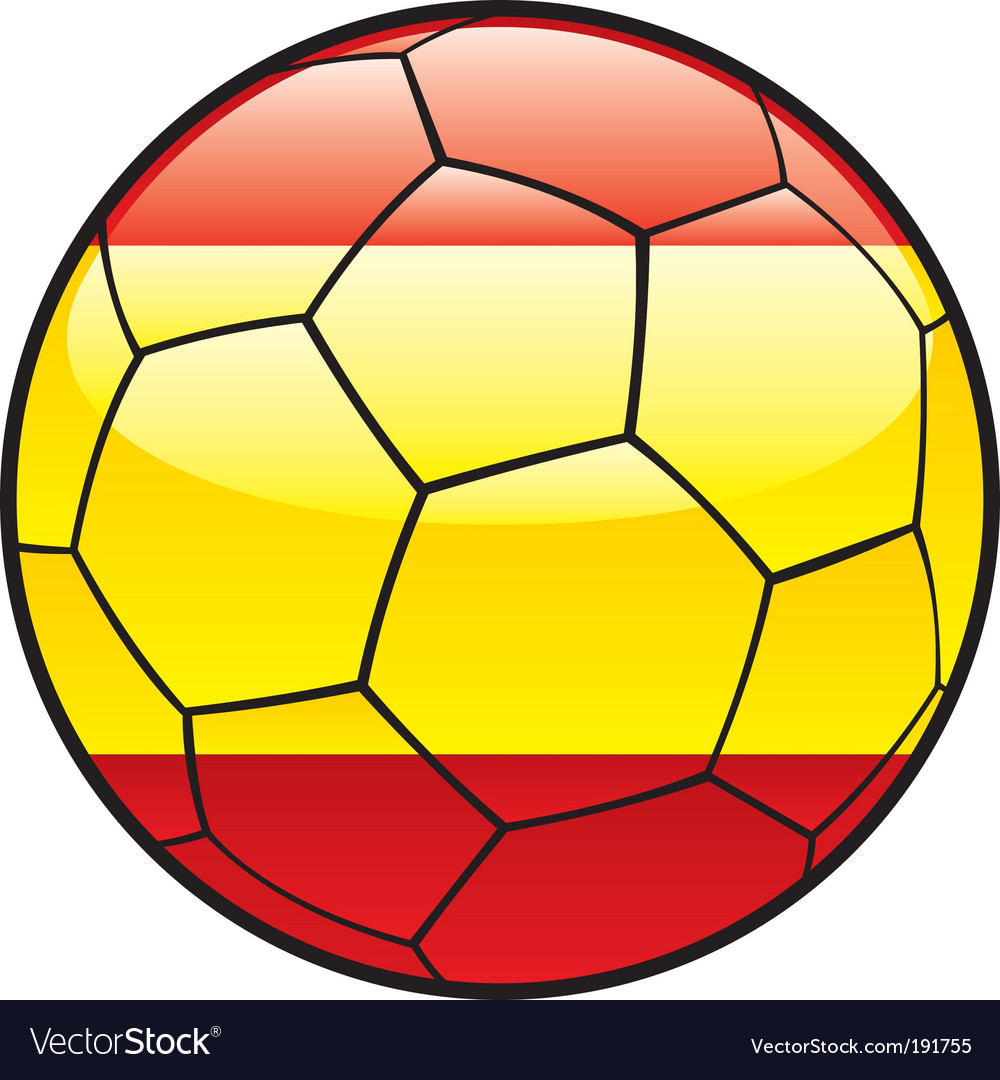 Flag of spain on soccer ball vector | Price: 1 Credit (USD $1)