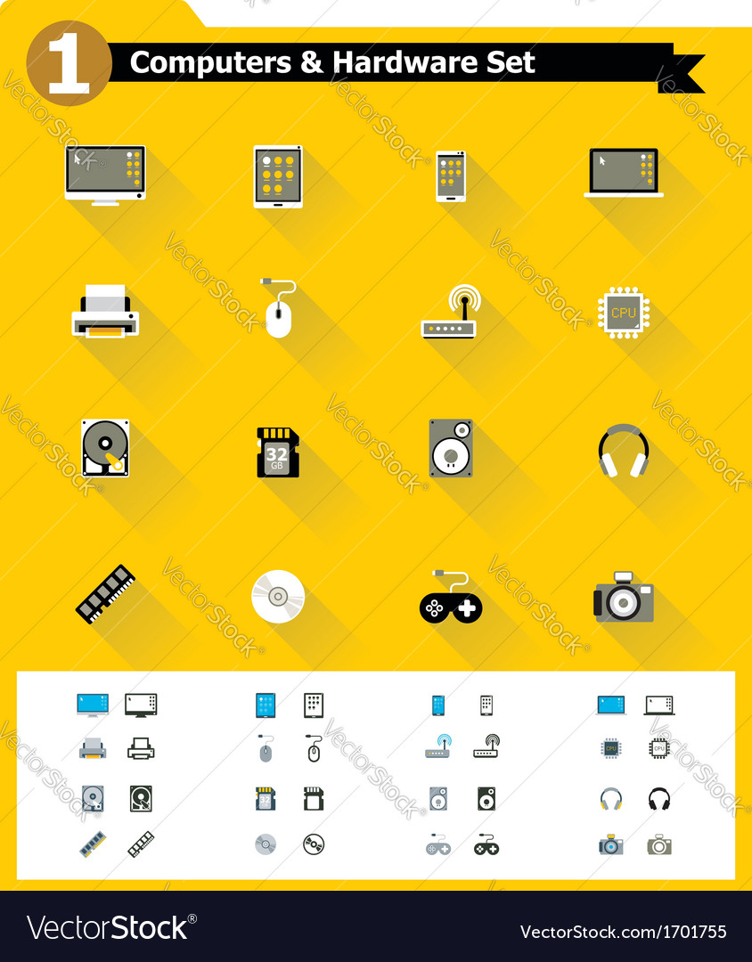 Flat computer hardware icon set vector | Price: 1 Credit (USD $1)