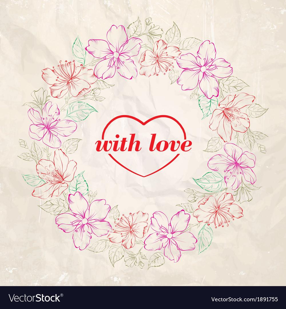 Floral wreath - valentine design vector   Price: 1 Credit (USD $1)