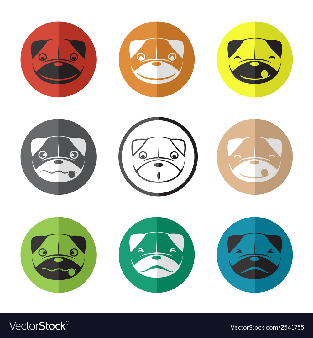 Group of dog face in the circle vector | Price: 1 Credit (USD $1)