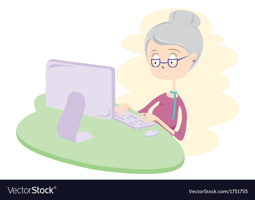 Happy old woman using computer vector | Price: 1 Credit (USD $1)