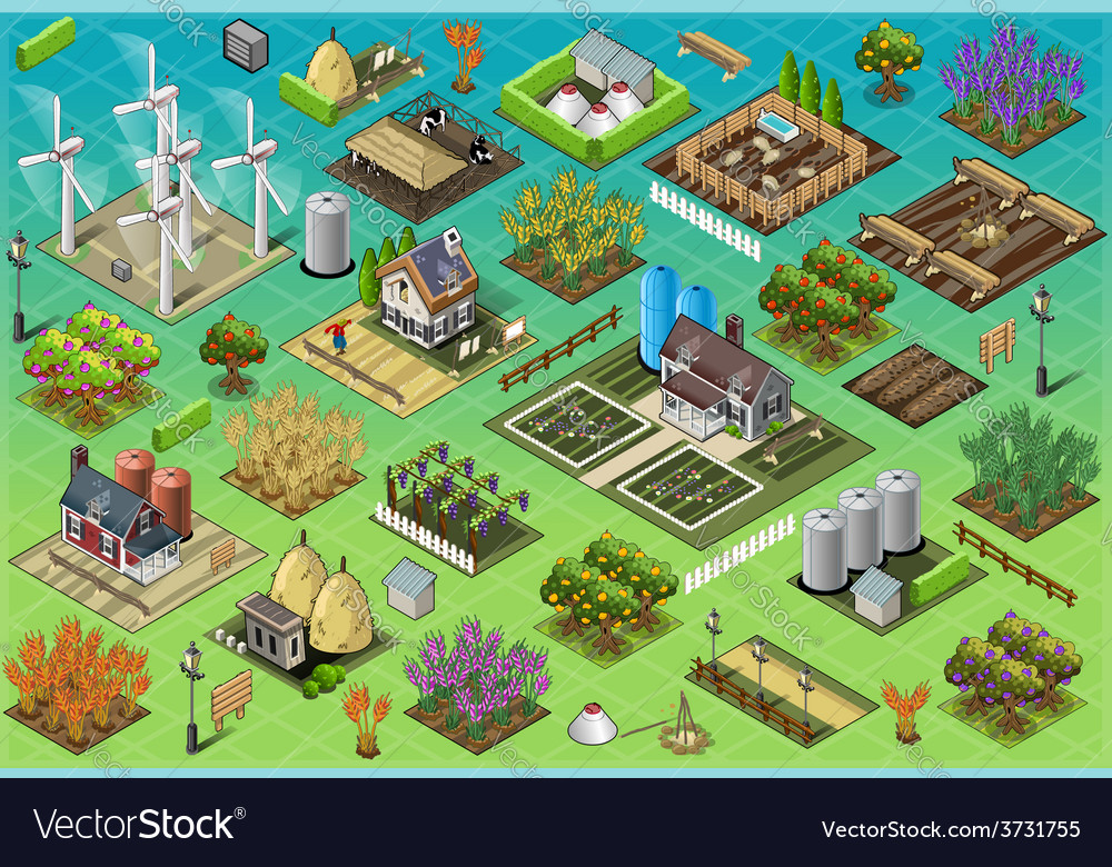 Isometric farm set tiles vector | Price: 3 Credit (USD $3)