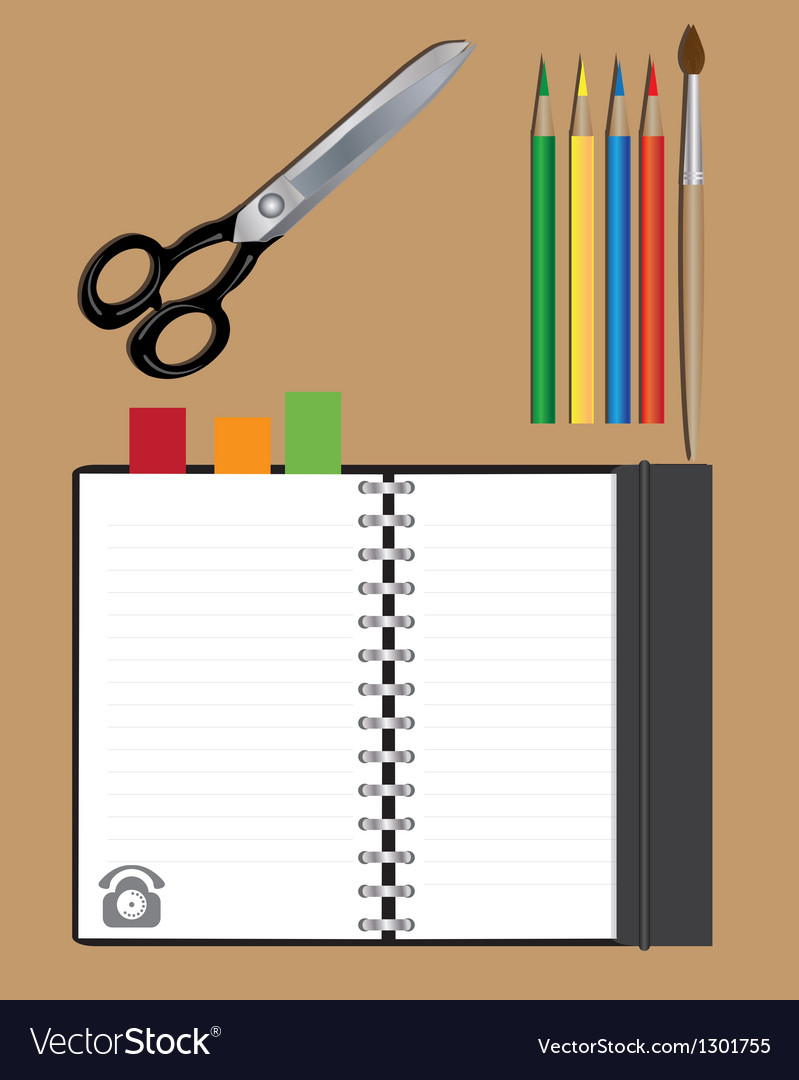 Notebook scissors and pencils vector | Price: 1 Credit (USD $1)