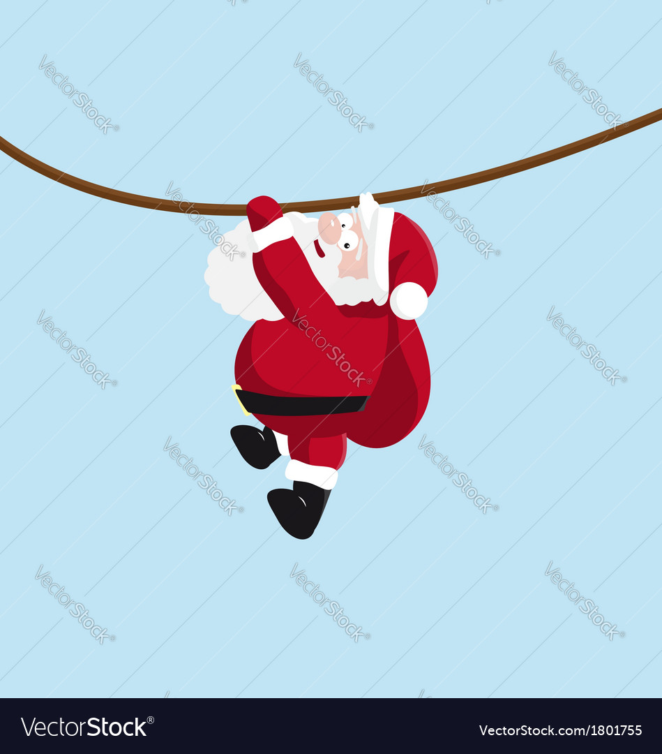 Santa hanging on the rope vector | Price: 1 Credit (USD $1)