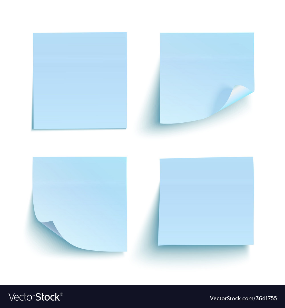 Set of blue sticky notes vector | Price: 1 Credit (USD $1)