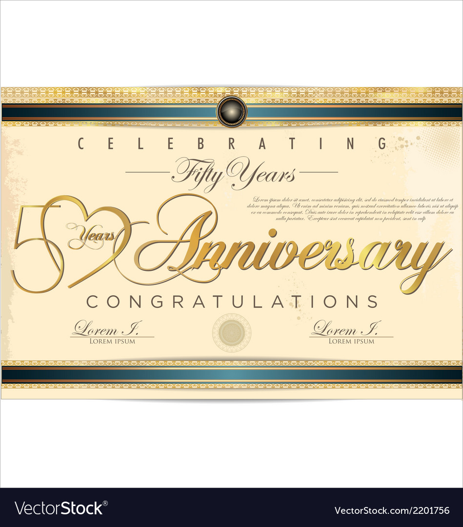 50 years anniversary diploma vector | Price: 1 Credit (USD $1)