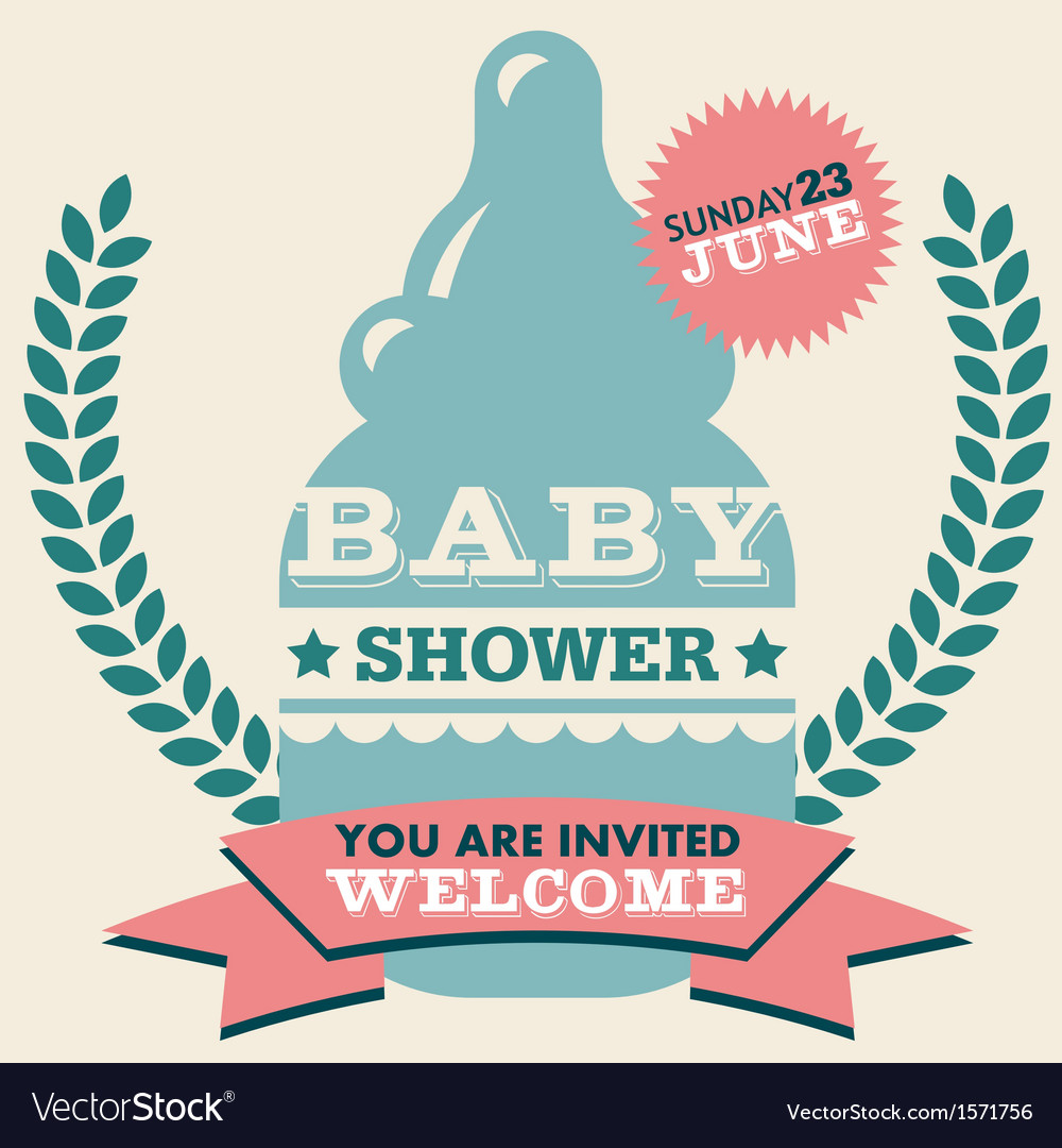 Baby shower invitation card vector | Price: 1 Credit (USD $1)