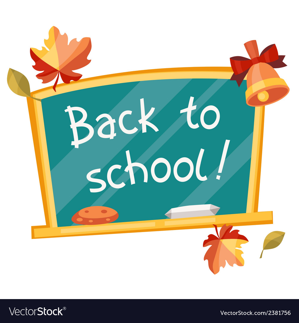 Back to school background with green chalkboard vector | Price: 1 Credit (USD $1)