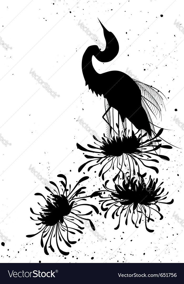 Chrysanthemum and heron vector | Price: 1 Credit (USD $1)