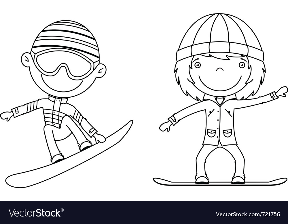 Cute cheerful kids flying on a snowboard vector | Price: 1 Credit (USD $1)