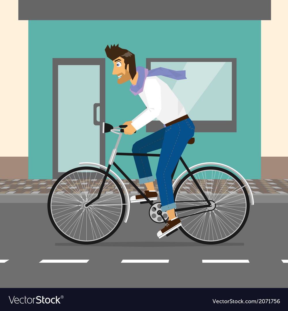 Handsome guy rides a bike vector   Price: 1 Credit (USD $1)
