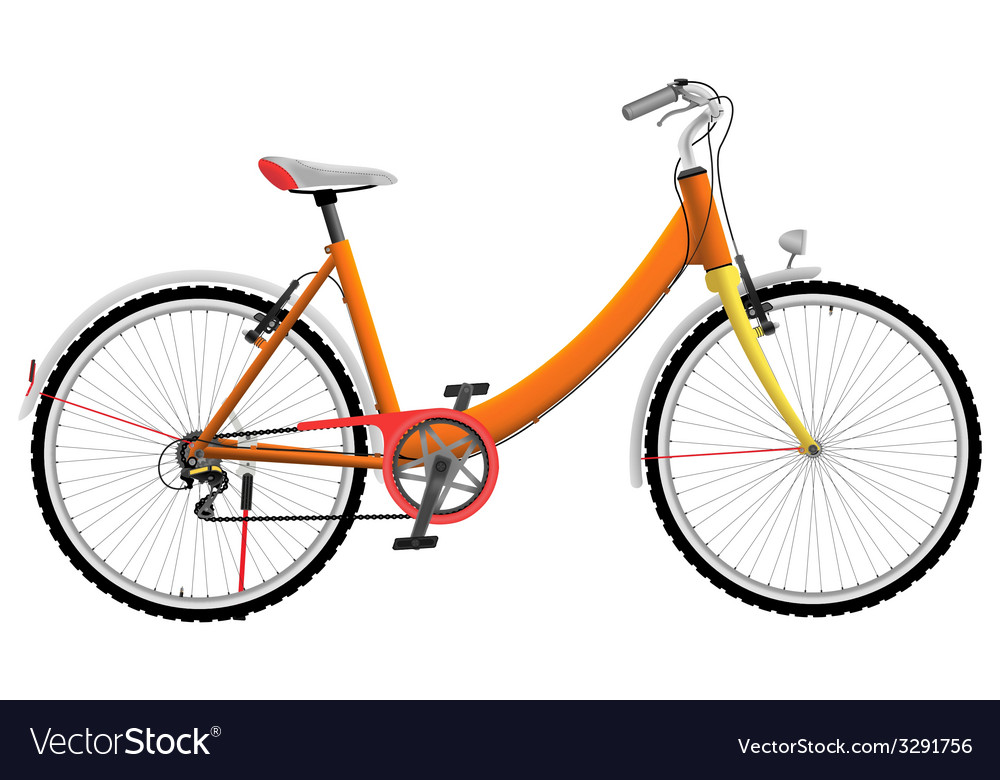 Ladies orange urban sports bike vector | Price: 1 Credit (USD $1)