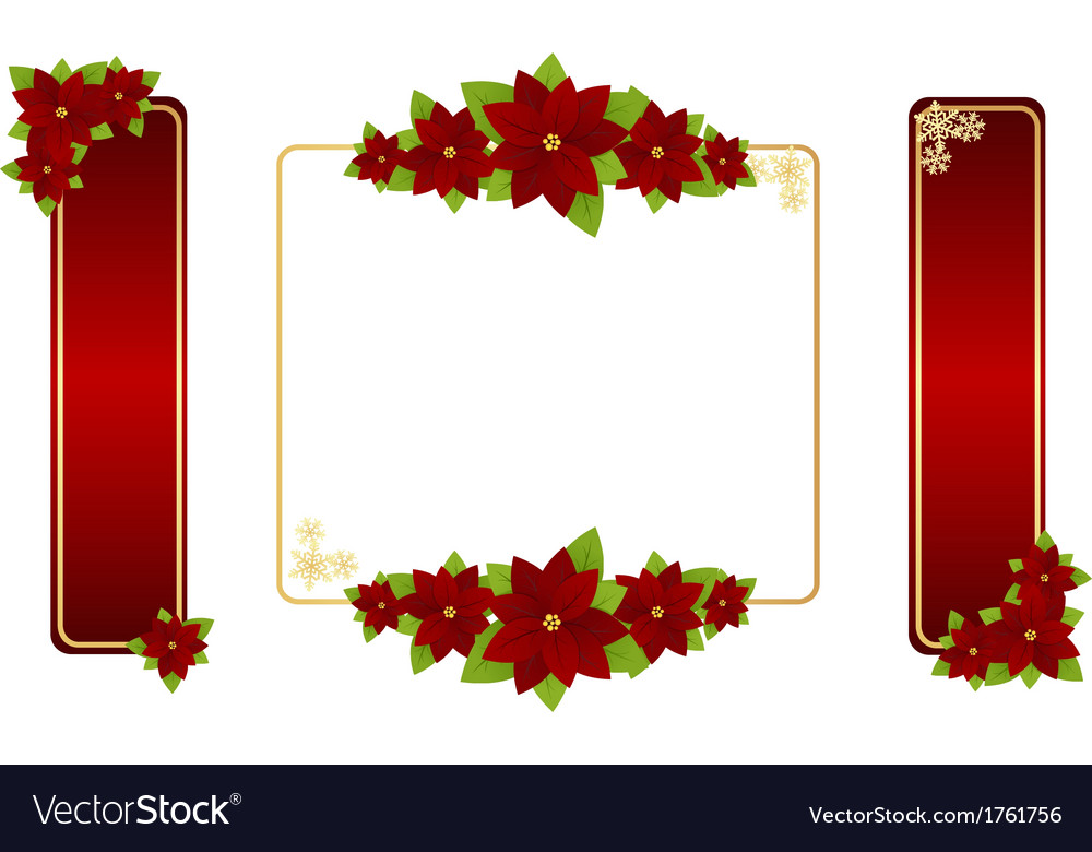 Poinsettia labels 01 vector | Price: 1 Credit (USD $1)