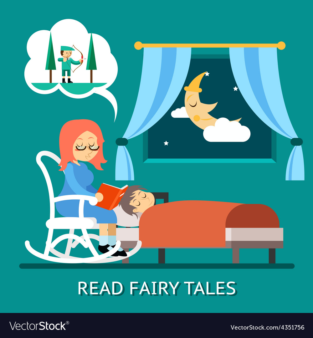 Read fairy tales vector | Price: 1 Credit (USD $1)