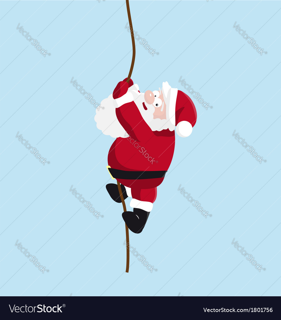 Santa on the rope vector | Price: 1 Credit (USD $1)