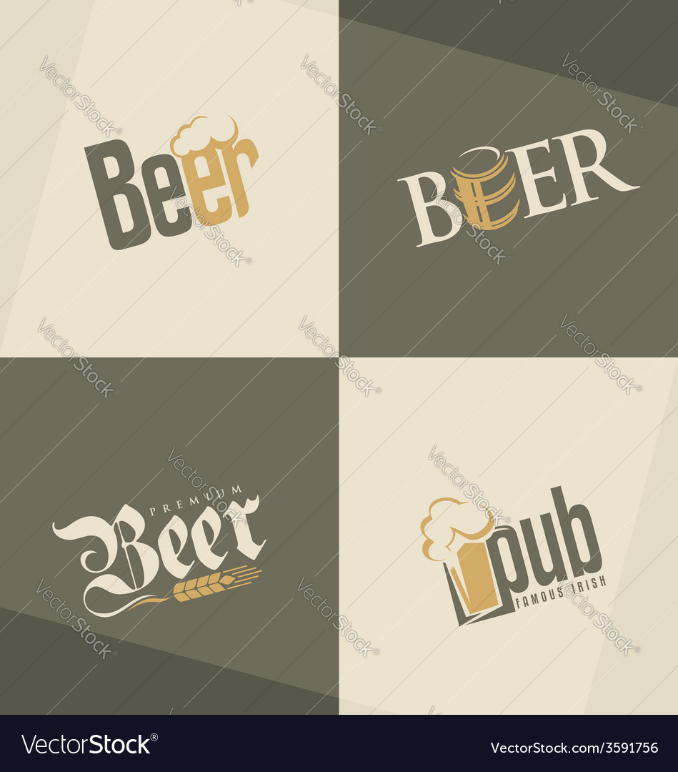 Set of beer logo design templates vector | Price: 1 Credit (USD $1)