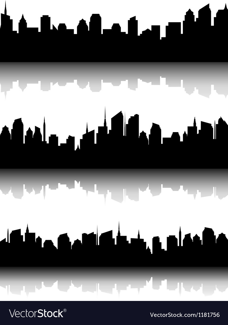 Set of business city skyline vector | Price: 1 Credit (USD $1)