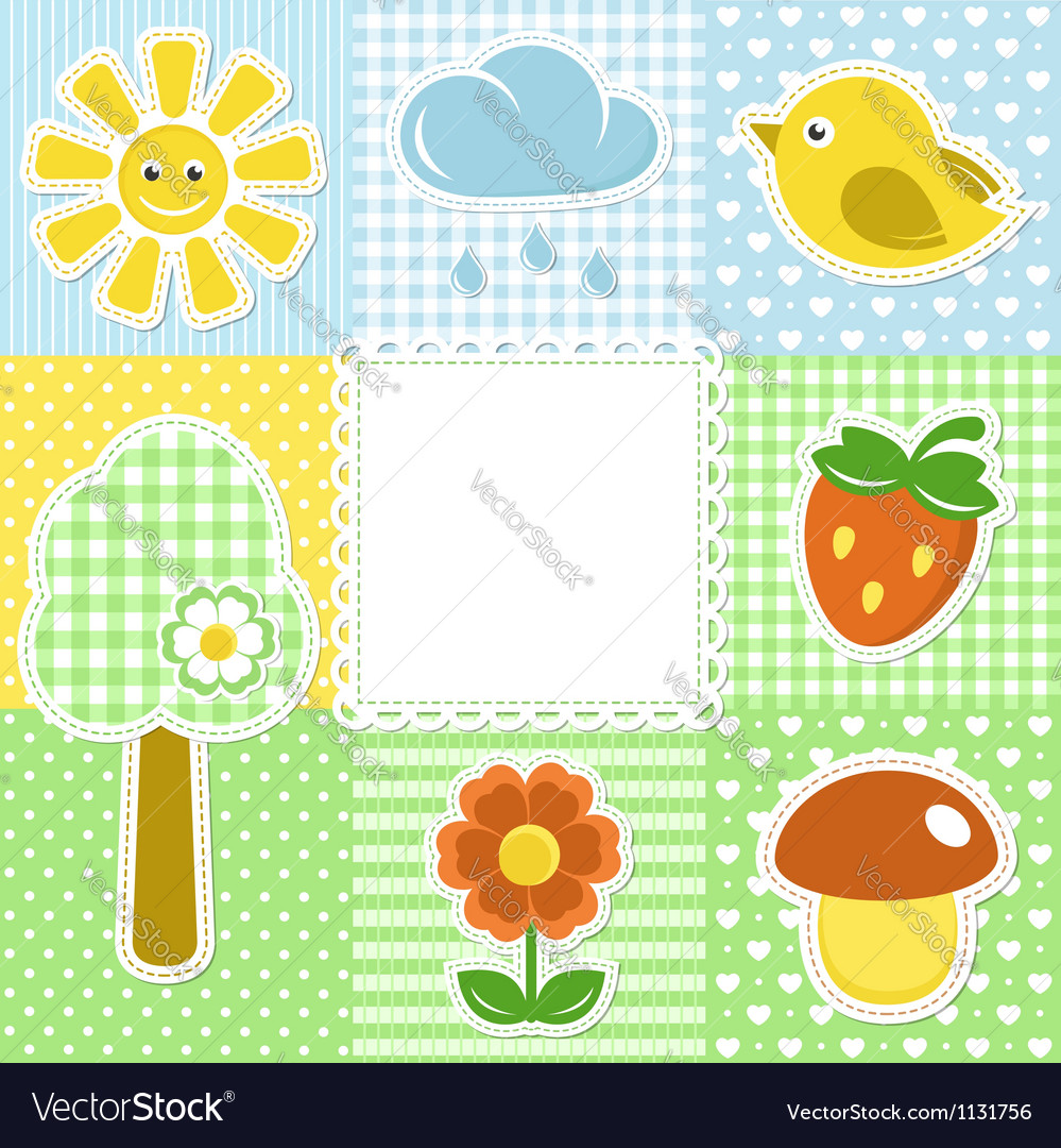 Summer frame with flower strawberry sun and bird vector | Price:  Credit (USD $)