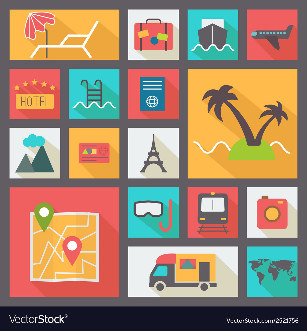 Travel and vacation icons set flat design vector | Price: 1 Credit (USD $1)