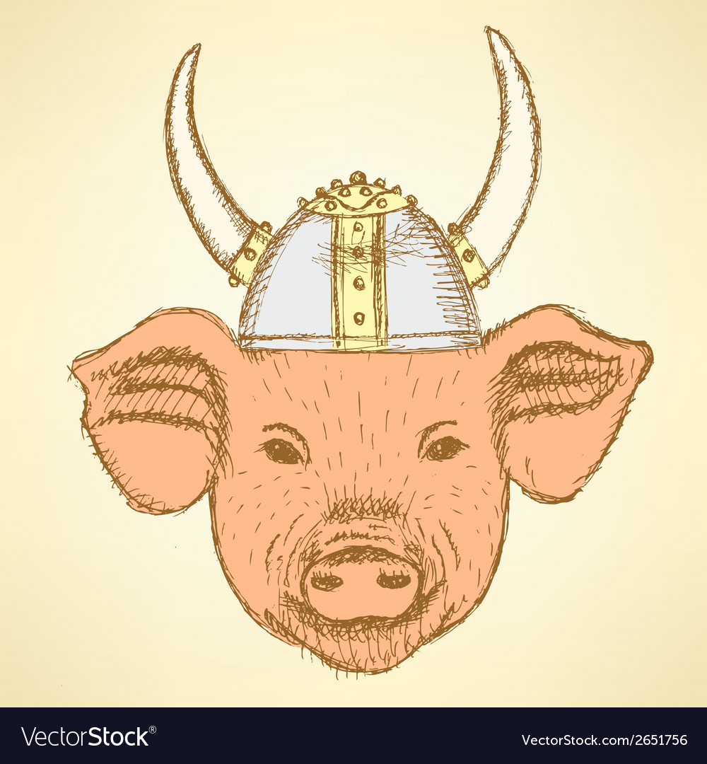 Viking helmet pig vector | Price: 1 Credit (USD $1)