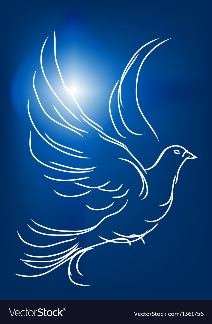 White dove in a blue sky vector | Price: 1 Credit (USD $1)