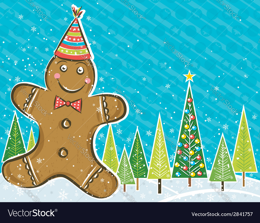 Background with gingerbread man and forest of pine vector | Price: 1 Credit (USD $1)