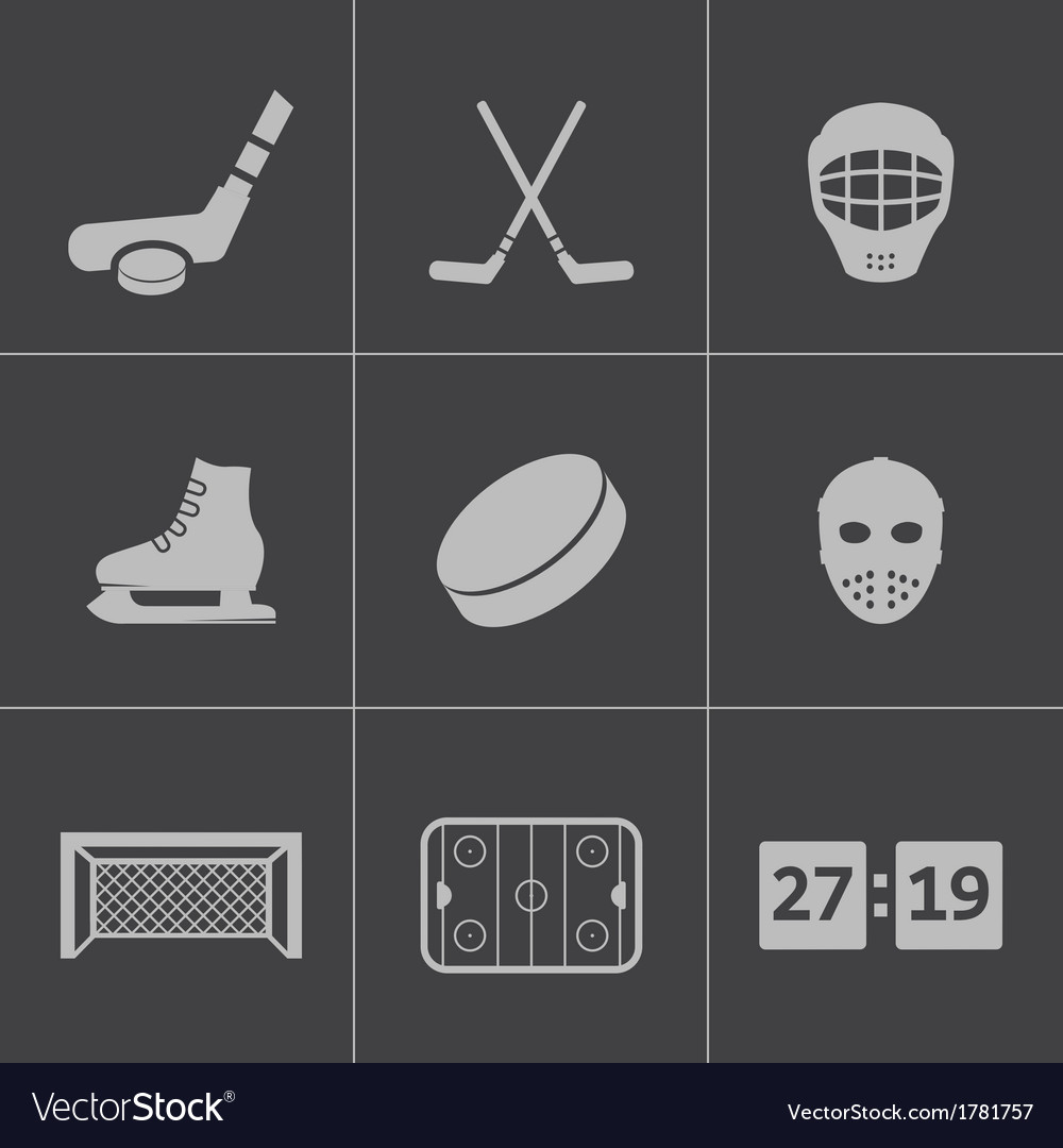 Black hockey icons set vector | Price: 1 Credit (USD $1)