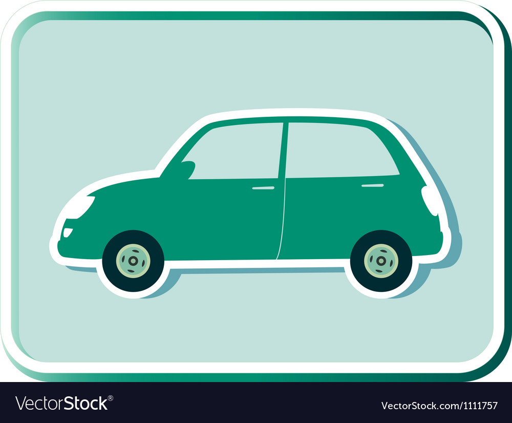 Button with green retro car vector | Price: 1 Credit (USD $1)