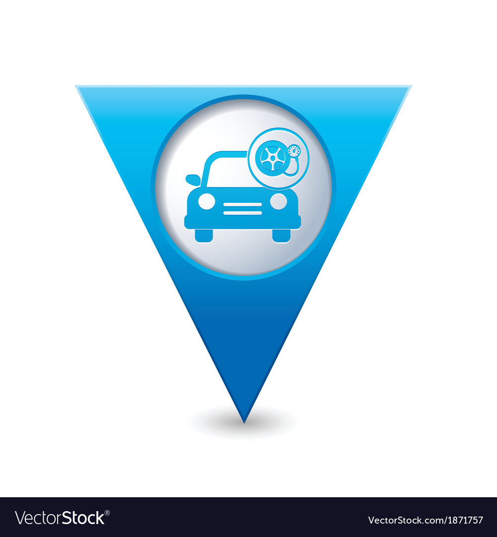 Car with wheel pump icon map pointer blue vector | Price: 1 Credit (USD $1)