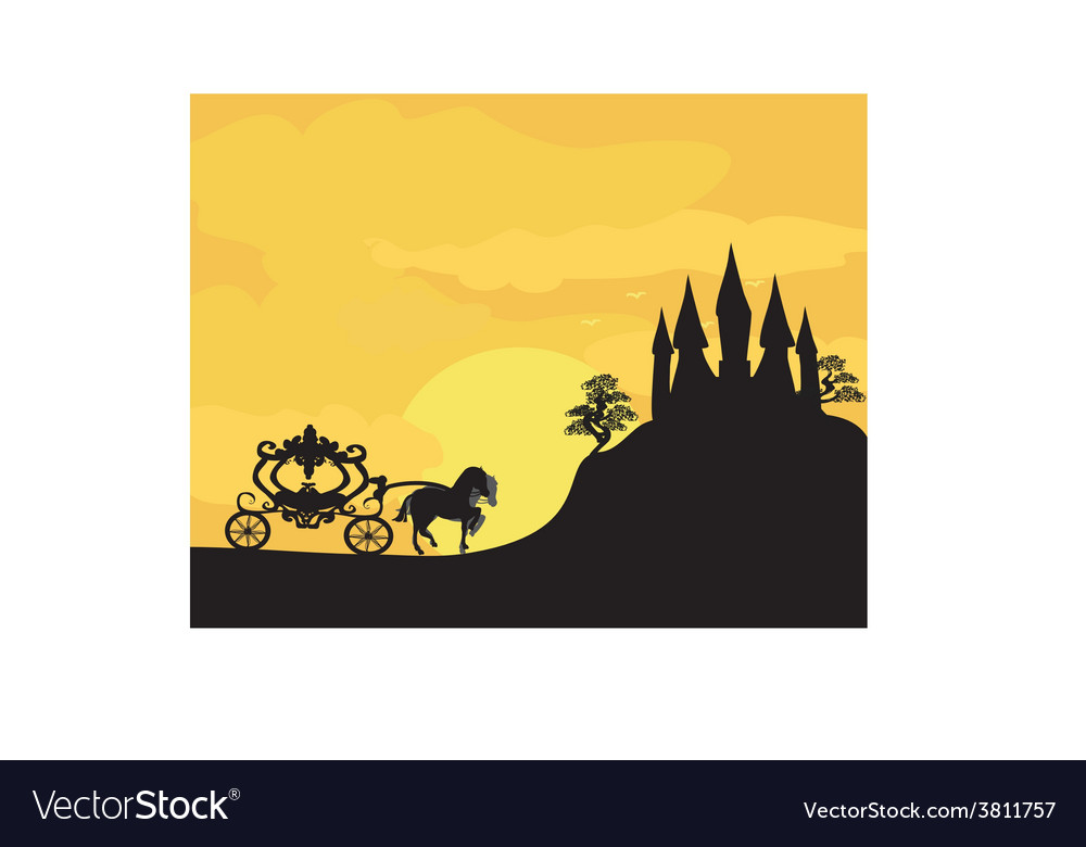 Carriage at sunset silhouette of a horse carriage vector | Price: 1 Credit (USD $1)