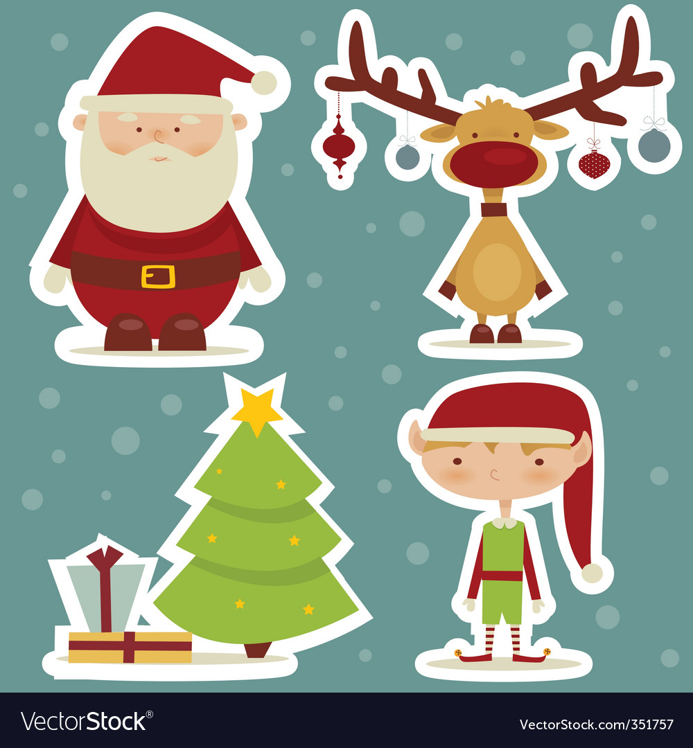 Christmas sticker vector | Price: 3 Credit (USD $3)