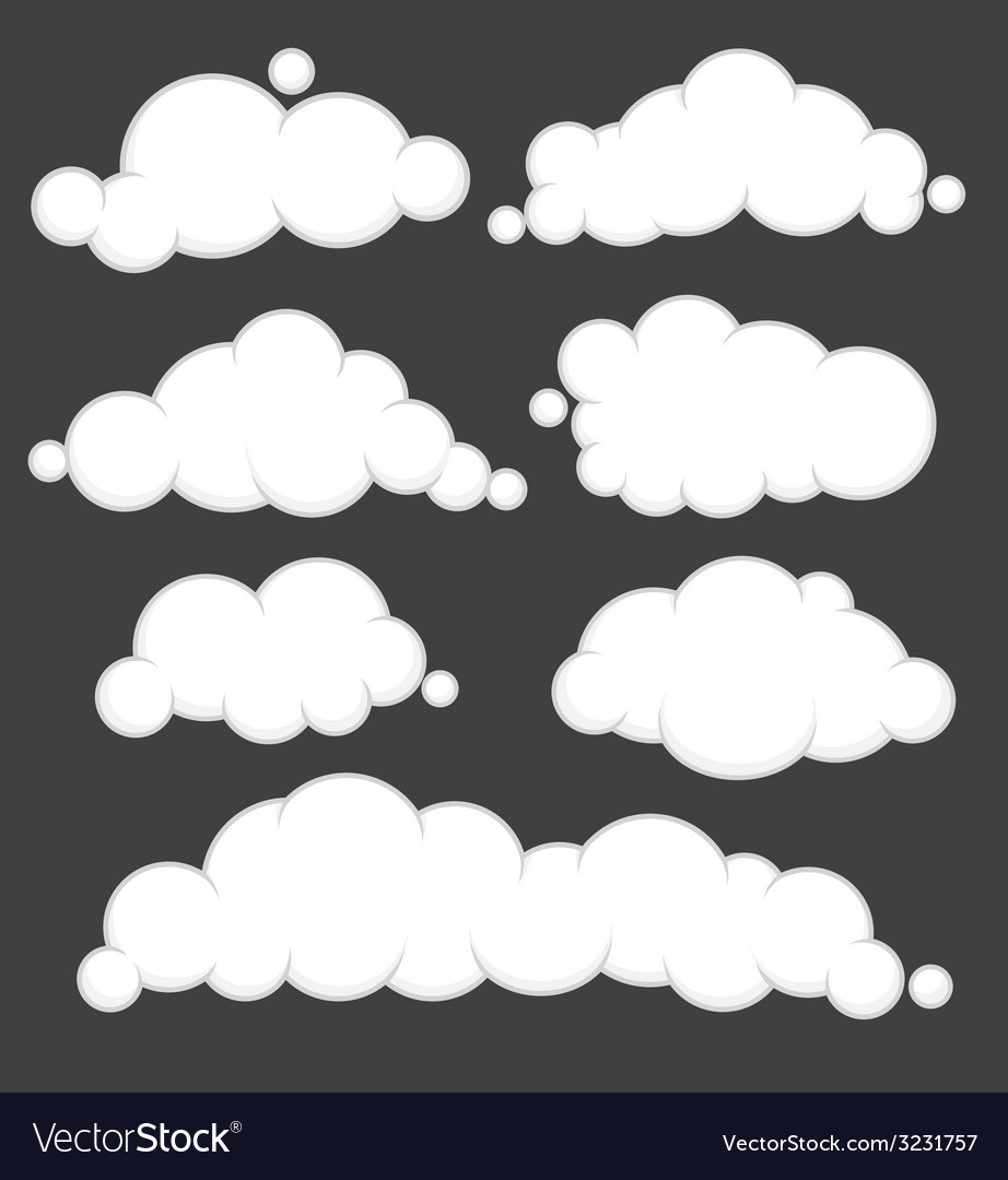 Clouds blue set vector | Price: 1 Credit (USD $1)