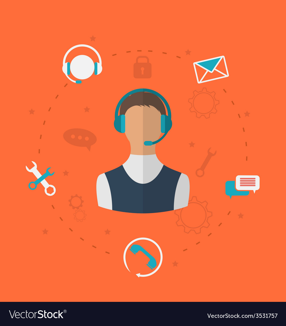 Concept of 24h online available customer support vector | Price: 1 Credit (USD $1)