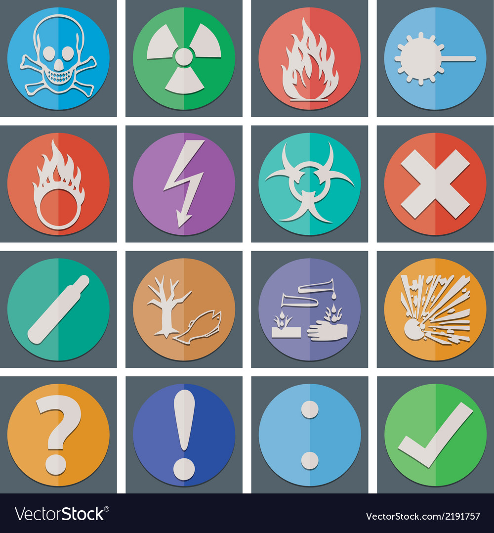 Danger icon color paper fold style vector | Price: 1 Credit (USD $1)