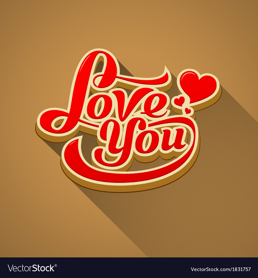 Love you modern message valentine day vector | Price: 1 Credit (USD $1)