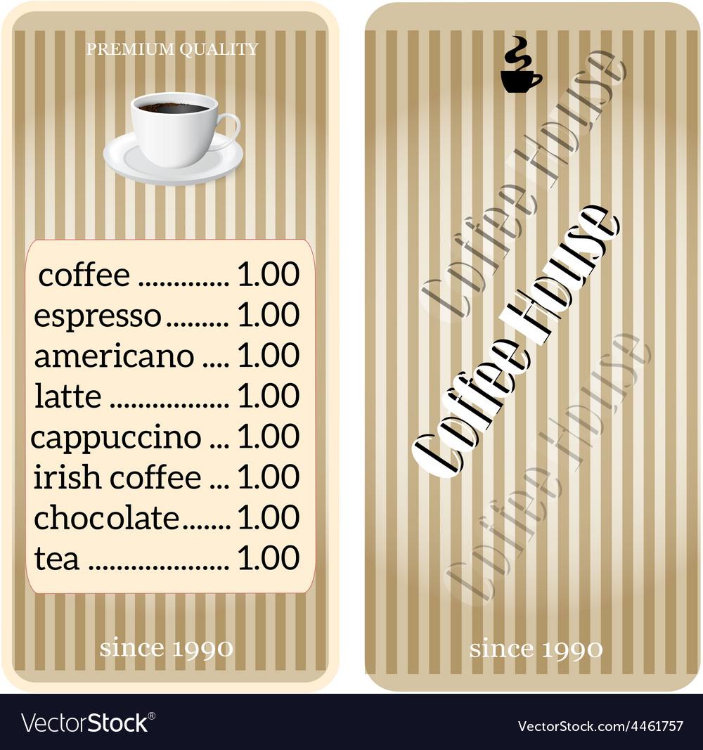 Menu for coffee shop restaurant vector | Price: 1 Credit (USD $1)